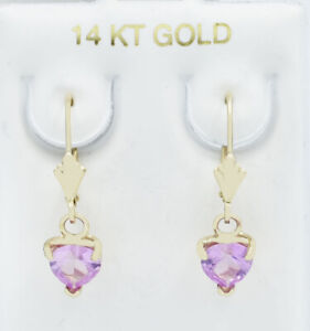 PINK SAPPHIRES DANGLING EARRINGS 14K YELLOW GOLD ** NEW WITH TAG **