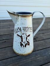 Distressed Metal Farmhouse Pitcher ~ Cow Vase Holder Rustic Country Home Decor