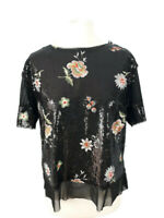 Zara Size Small 8 10 Black Sequinned Floral Embroidered Top Party Evening