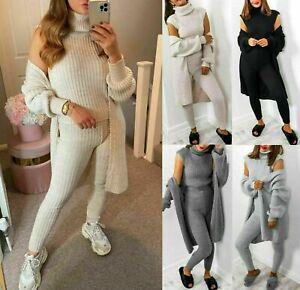 Women 3 Piece Knitted Co Ord Set Top Bottom Cardigan Winter Ladies Loungewear