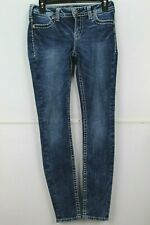 Silver Suki Super Skinny Jeans Womens/Juniors Ankle Slim Thick Stitch Sze 27 WC3