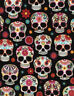 SUGAR SKULLS  by Timeless treasures 100% cotton fabric HALLOWEEN