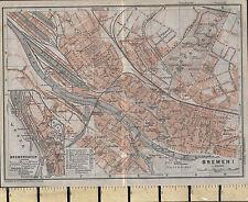 1925 GERMAN MAP ~ BREMEN CITY PLAN INSET BREMERHAVEN PUBLIC BUILDINGS