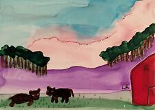 Aceo brown calves cow pasture barn original painting by Lynne Kohler
