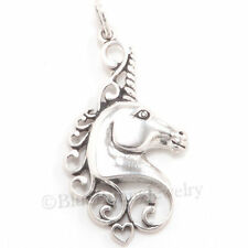 UNICORN Charm Pendant Filigree design HEART 925 STERLING SILVER MYTHICAL jewelry