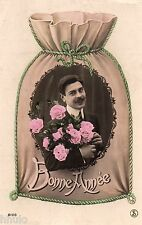 BK126 Carte Photo vintage card RPPC Homme fantaisie sac fleurs moustache