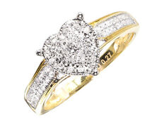 14k Yellow Gold Ladies Pave Diamond Heart Fashion Engagement Wedding Ring 0.27ct