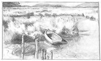 Realistic Nautical Boat Sketch Peru Landscape Pencil Artwork 10x6 Drawing Art