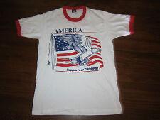 "Vtg 1991 America ""Support Our Troops"" Screen Stars Best Ringer T-Shirt Mens L"