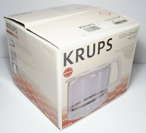 Vtg NOS KRUPS Glass Coffee Carafe White Handle & Lid 12 Cup  F035 70 57 M - NEW