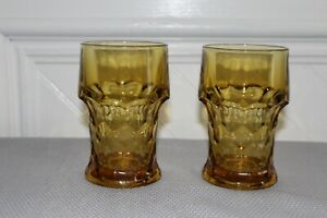 VTG  Georgian Amber Large Ice Tea Tumblers Glasses- Set of 2