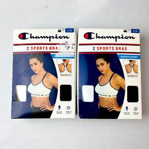 Champion Women's 2 Seamless Sports Bras Black & White Size L