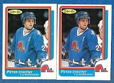 1986-87 O-Pee-Chee Regular & Blank Back PETER STASTNY (ex-mt) Quebec Nordiques