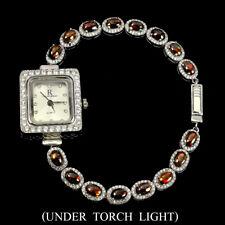 White Gold Plate 925 Sterling Silver Watch Oval Black Opal Rainbow 6x4mm Cz 14K