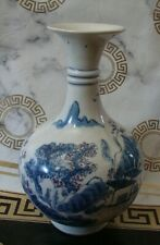ANTIQUE BOTTLE VASE CHINESE PORCELAIN SIGNE BLUE WHITE