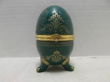 Ceramic Hinged Green Egg Trinket Box With Quartz Watch Inside!