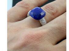 Ring Gold 750 Lapislazuli 1,08 ct Brillant brilliant cut diamond Gr 52 wie neu
