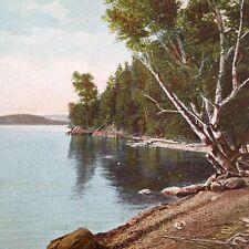 Antique Lake Memphremagog Vermont Postcard Shore at Dunkeld Georgeville Quebec