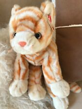 """Ty Beanie Buddies AMBER Ginger/Cream stripy CAT VGC, with swing tag 12"""" + Tail"""