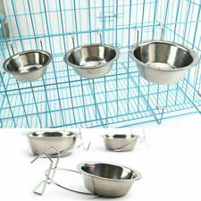 Stainless Steel Hanging Feeding Bowl Pet Cat Bird Dog Food Water Cage Cup S M L