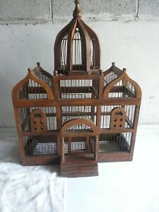 Antique WOOD & WIRE Victorian BIRD CAGE HOUSE Art Deco