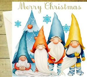 Merry Christmas gnome tree glitter Nordic snowflake cute card white traditional