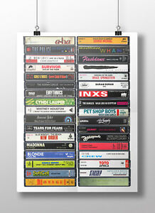 80's Singles Poster: Original Cassette Print, 1980s Classic Songs, Music Party