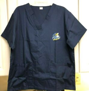 NWOT ADULT LARGE MYRTLE BEACH PELICANS BASEBALL BLUE SCRUBS TOP SHIRT - SUCCESS