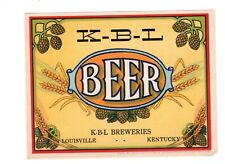 Vintage K-B-L Beer label, Louisville, Kentucky approximately 3 3/4 + 4 inches