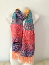 100% CASHMERE SCARF ZEBRA LEOPARD PRINT BLUE PINK MADE IN SCOTLAND SUPER SOFT