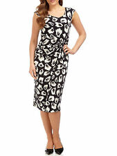 PRECIS PETITE BLACK CANNES JERSEY FEATHER PRINT DRESS SIZE 6, 8, 10  RRP £99