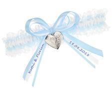 Strumpfband Hellblau - GRÖßE WÄHLBAR - MIT NAMEN - Blau Braut Strumpfbänder NEU
