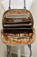 Tignanello Gray Pebbled Leather Dual Handle Multi-Section Organizer Satchel Bag