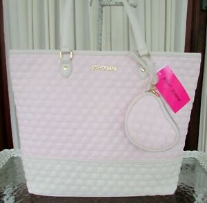 Betsey Johnson Tote Hearts & Wristlet Shoulder Bag Purse Quilted Blush NWT