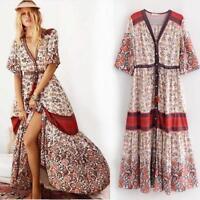 Womens Hippie Floral Boho Deep V Neck Holiday Prairie Sexy Maxi Summer New Dress