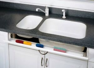 """REV A SHELF STANDARD SINK FRONT TIP OUT TRAY 11"""" OR 14"""" WHITE OR ALMOND RS6581"""