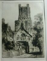 Antique Original Etching of Ely Cathedral  by James Alphege Brewer, signed.