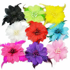 Large Glittery Feather Flower Hair Clips Wedding Bridal Bridesmaid Dance Troupe