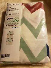 Ikea Stillsamt Twin Duvet cover w/ Pillowcase White Green multicolor - New
