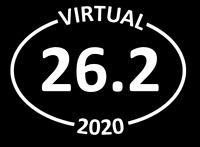 """VIRTUAL"" 26.2 marathon white oval car decal - runner, running, sticker"