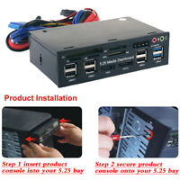 "Internal Card Reader USB 3.0 e-SATA SATA Port 5.25"" Media Dashboard Front Panel"