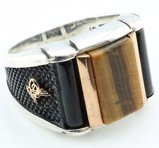 925 Sterling Silver Tiger Eye & Onyx  Men's Ring -US Seller-All Sizes 8-12 K60