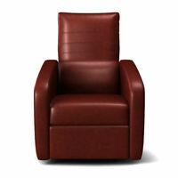Manual Recliner Chair Contemporary Foldable-Back Leather Reclining Chair Sofa