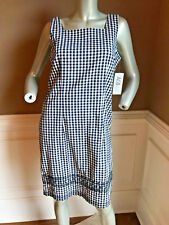 NWT AGB Sleeveless Cotton Blend stretch sheath dress sz 8 blk/white gingham  ptt