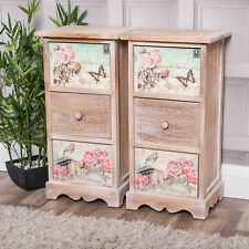 Pair Of 3 Drawer Bedside Lamp Tables Chic Vintage Style Hallway Home Decor