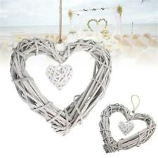 Synthetic Wicker Love Heart Wreath Rattan Wall Hanging Wedding Party Decor LE