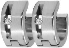 Neue Titan Titanium Klappcreolen Kreolen Ohrringe Silber Damen Herren Zirkonias