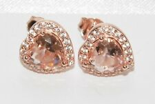 9ct Rose Gold on Silver Morganite Heart Cluster Dropper Stud Earrings