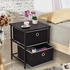 2 Tier Night Stand End Table Storage Side Table Home Office Furniture W/2 Basket