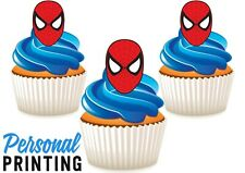 SPIDER MAN HEAD - 12 Edible Cupcake Toppers love kids